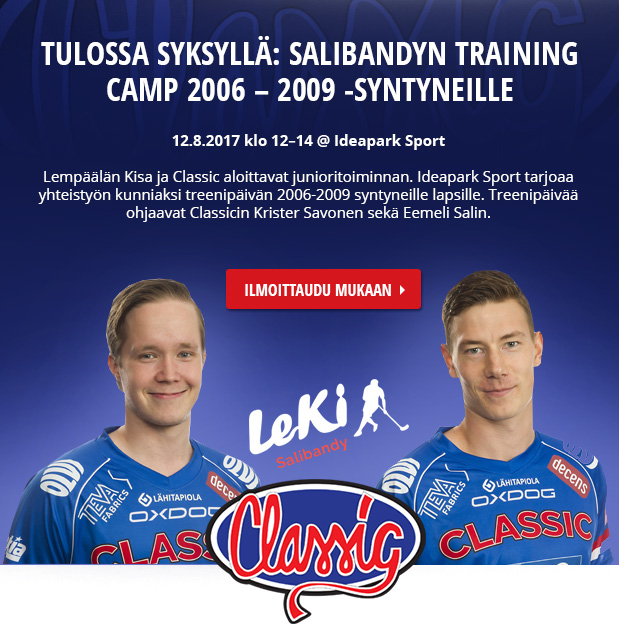 Ideapark Sports, LeKi ja Classic järjestävät Salibandy-treenipäivän 12.8. klo 12-14 2006-2009 -syntyneille lapsille. Ilmoittaudu mukaan!