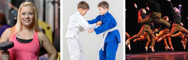Kuvakollaasi eri lajeista. Kuvassa on painonnostoa, judon harjoittelua ja tanssia